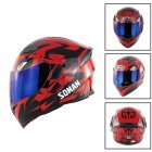 Unisex Advanced Double Lens Flip-up Motorcycle Helmet Off-road Safety Helmet red with blue  lens_XL
