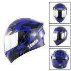 Unisex Advanced Double Lens Flip-up Motorcycle Helmet Off-road Safety Helmet blue with silver lens_L