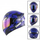 Unisex Advanced Double Lens Flip-up Motorcycle Helmet Off-road Safety Helmet blue with colorful lens_XL