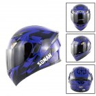 Unisex Advanced Double Lens Flip-up Motorcycle Helmet Off-road Safety Helmet  blue with tea lens_M