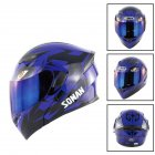 Unisex Advanced Double Lens Flip-up Motorcycle Helmet Off-road Safety Helmet blue with blue lens_XL