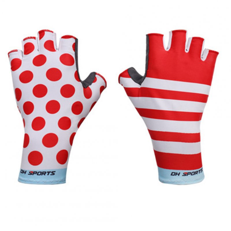 Unisex Anti Slip Gel Pad Bicycle Gloves Short Half Finger Cycling Gloves  Green red_M