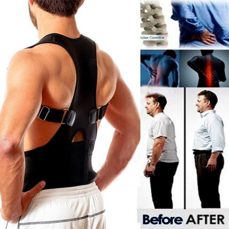 Unisex Back Posture Corrector Magnetic Adjustable Posture Brace Back Support Belt L