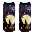Unisex Cartoon 3D Halloween Element Printing Socks Breathable Sweat-Absorbent Socks   WSJ18_one size