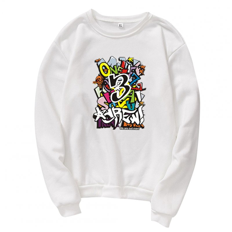 Unisex Cartoon Print Round Collar Loose Long Sleeve Casual Sports Sweatshirts white_L