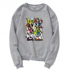 Unisex Cartoon Print Round Collar Loose Long Sleeve Casual Sports Sweatshirts gray_XL