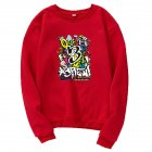 Unisex Cartoon Print Round Collar Loose Long Sleeve Casual Sports Sweatshirts red_2XL