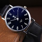 Unisex Casual Business Style Leather Strap Waterproof Classic Watch Small black dial black belt