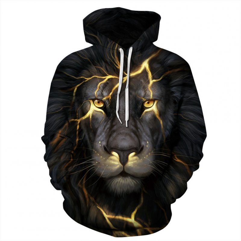 Unisex Casual Long Sleeve Hoodie 3D Lion Printed Hooded Sweatshirt Pullover Tops Black lion_XXL