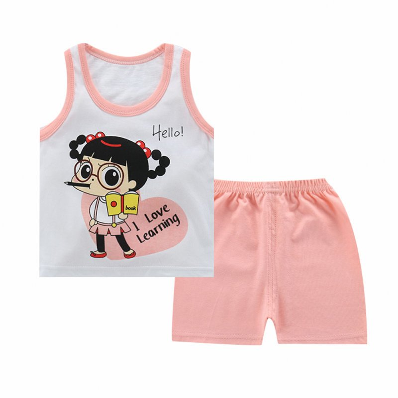 Unisex Children Vest Suit Sleeveless Tops+Pants Cute Cartoon Pattern Clothes Vest - pink girl_70# (100-110cm recommended)