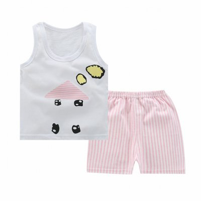 Unisex Children Vest Suit Sleeveless Tops+Pants Cute Cartoon Pattern Clothes Vest - small house_70# (100-110cm recommended)