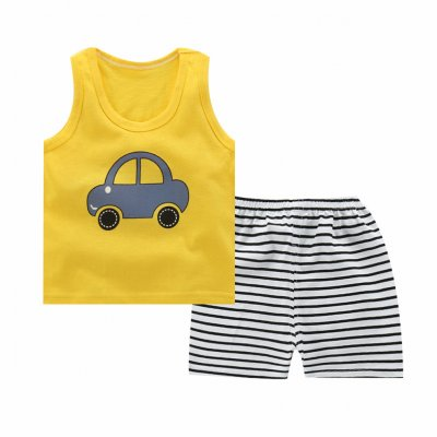 Unisex Children Vest Suit Sleeveless Tops+Pants Cute Cartoon Pattern Clothes Vest - car_70# (100-110cm recommended)