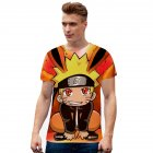 Unisex Cute Japanese Anime NARUTO Digital Printed Round Neck Short-sleeved T-shirts Q-0455-YH01 Orange P_XL