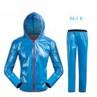Unisex Cycling Raincoat Suits Outdoor Windproof Waterproof Rainwear Riding Rain Coat   Pants Blue XL