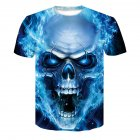 Unisex Delicate 3D Skull Printing Round Collar Fashion T shirt Blue skull  L