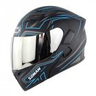 Unisex Double Lens Flip-up Motorcycle Helmet High Strength Safety Helmet Matte black blue with silver lens_L