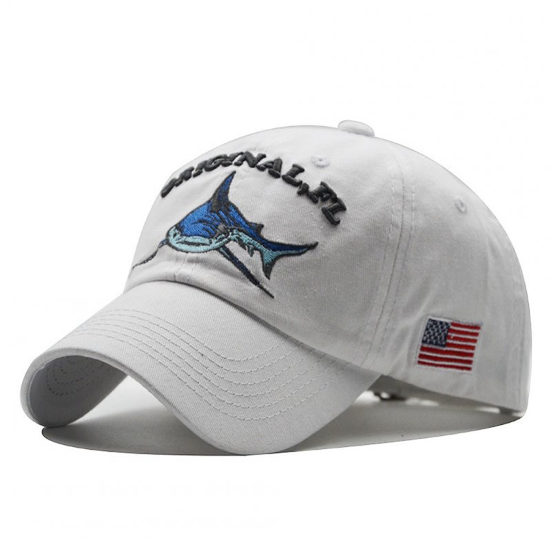Unisex Embroidered Lettering Shark Pattern Baseball Cap Fashion Denim Sun Shade Hat white_adjustable