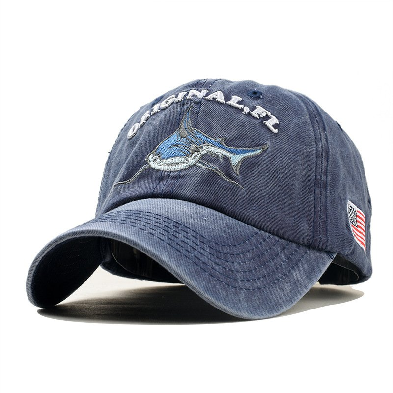 Unisex Embroidered Lettering Shark Pattern Baseball Cap Fashion Denim Sun Shade Hat Navy_adjustable