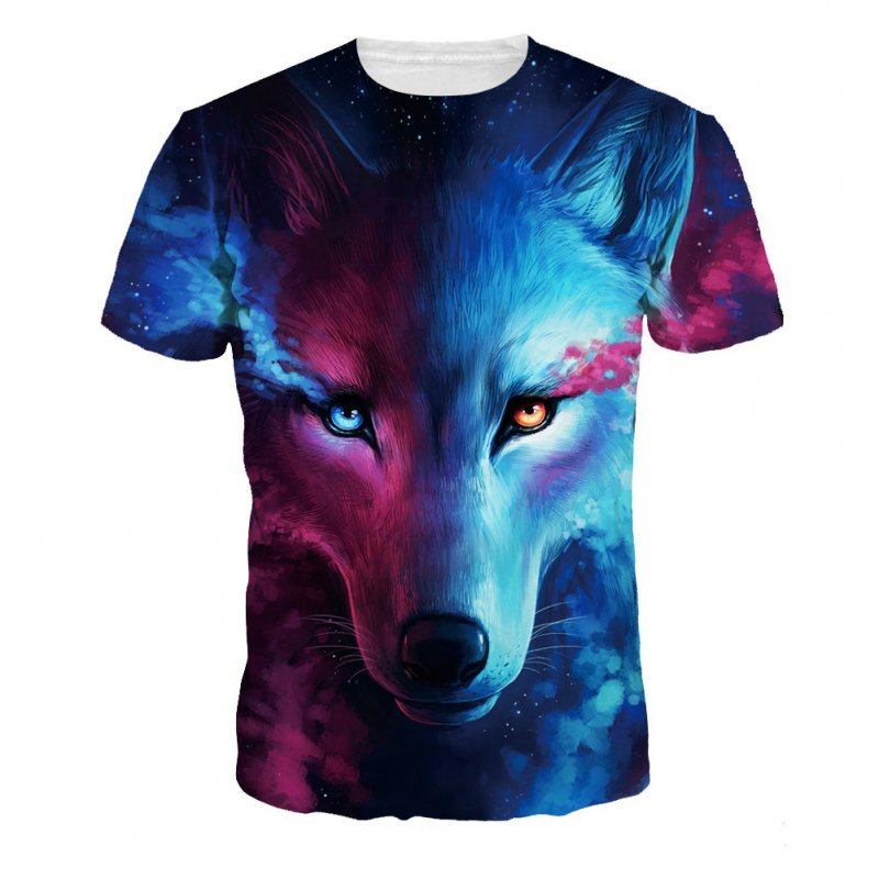 Unisex Fashion 3D Digital Wolf Pattern Short Sleeve Shirt as shown_XL