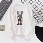 Unisex Fashion Casual Kaws Long Sleeved Blouses Plush Warm Round Collar Tops white_S