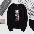 Unisex Fashion Casual Kaws Long Sleeved Blouses Plush Warm Round Collar Tops black L