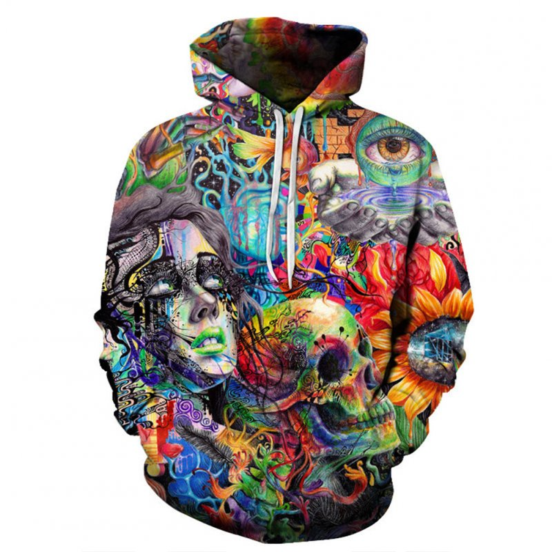 Unisex Fashion Color Painting Skull 3D Digital Printing Lovers Hoodies as shown_L
