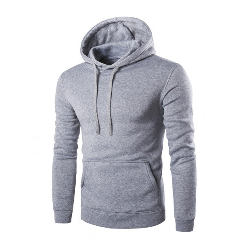 Unisex Fashion Hoodies Pure Color Long Sleeved Hoodies light grey_L