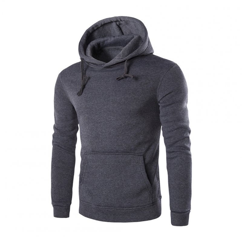 Unisex Fashion Hoodies Pure Color Long Sleeved Hoodies Dark gray_L