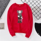 Unisex Fashion Kaws Long Sleeved Blouses Plush Round Collar Tops red_S