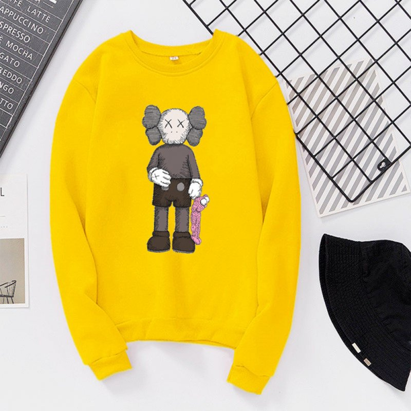Unisex Fashion Kaws Long Sleeved Blouses Plush Round Collar Tops yellow_S