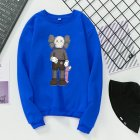 Unisex Fashion Kaws Long Sleeved Blouses Plush Round Collar Tops blue_M