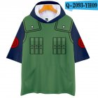 Unisex Fashion Naruto Cosplay Digital Print 3D Hooded Tops Short-sleeved T-shirt  Q-2093-YH09 green_M