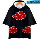 Unisex Fashion Naruto Cosplay Digital Print 3D Hooded Tops Short-sleeved T-shirt  Q-2092-YH09 black_XL