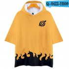Unisex Fashion Naruto Digital Print 3D Short-sleeved T-shirt Hooded Tops Q-0422-YH09 yellow_XL