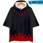 Unisex Fashion Naruto Digital Print 3D Short-sleeved T-shirt Hooded Tops Q-2099-YH09 black_XL