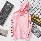 Unisex Fashion Plush All-matching Couple Simple Letters Printing Hoody Pink_M