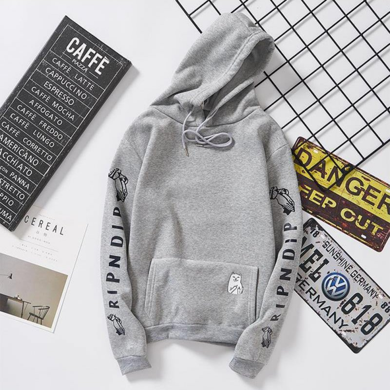 Unisex Fashion Plush All-matching Couple Simple Letters Printing Hoody Gray_XL