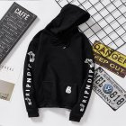 Unisex Fashion Plush All matching Couple Simple Letters Printing Hoody Black XL