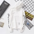 Unisex Fashion Plush All-matching Couple Simple Letters Printing Hoody White_L