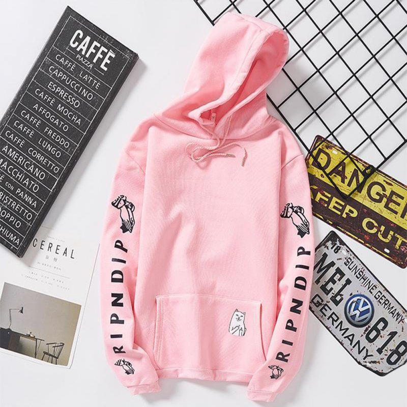 Unisex Fashion Plush All-matching Couple Simple Letters Printing Hoody Pink_XL