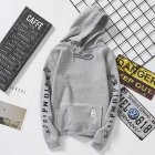 Unisex Fashion Plush All matching Couple Simple Letters Printing Hoody Gray L