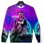 Unisex Fashion Vivid Color 3D Printed Round Collar Sweatshirts C style_S