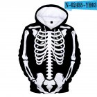 Unisex Halloween Skeleton Hoodie Plush Sweatshirt Long Sleeve Loose Printing Pullover N-02455-YH03 style 22_2XL