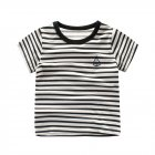 Unisex Kids Short Sleeve Crew Neck Stripe Tops T-shirt Cotton Comfortable Summer Clothes for Toddler Girls or Boys