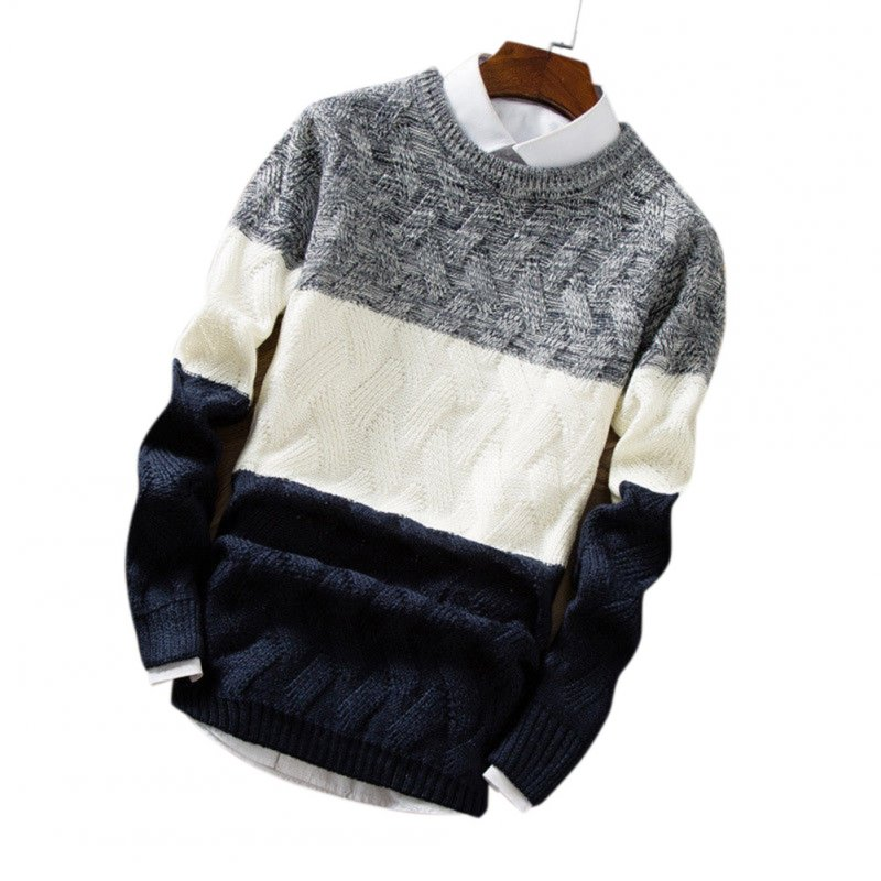 Unisex Knitted Thin Type Sweater Round Neck Pullover Warm Sweater Tops Navy_XL
