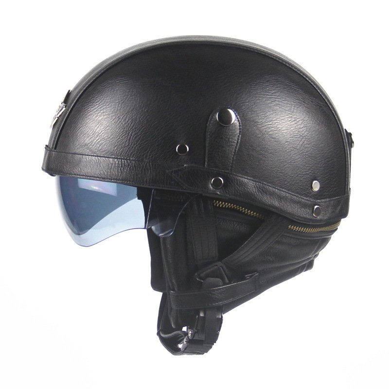 Unisex Leather Helmets for Motorcycle Retro Half Cruise Helmet Motorcycle Helmet black