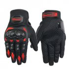 Unisex Motorcycle Gloves Summer Breathable Moto Riding Protective Gear Non-slip Touch Screen Guantes Red M