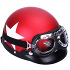 Unisex Motorcycle Safety Helmet with Goggles Detachable Visor White Star Pattern Helmet date red