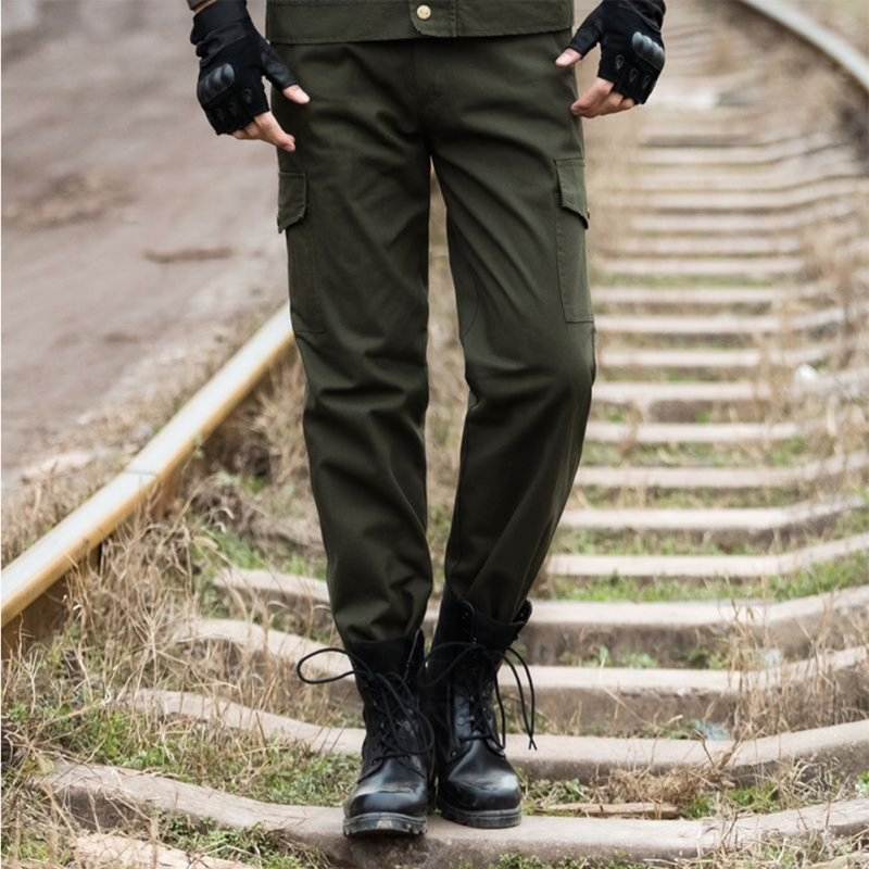 Unisex Overalls Trousers Tactical Training Trousers Loose Wear-resistant Pants Army Green Four Pockets _185=2XL