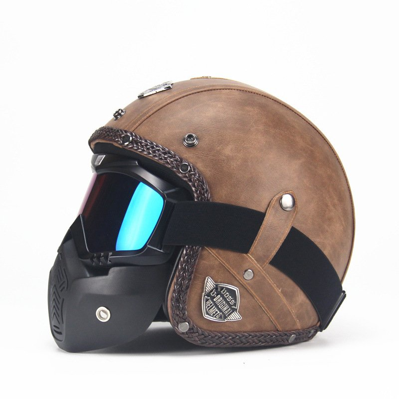 Unisex PU Leather Helmets 3/4 Motorcycle Chopper Bike Helmet Open Face Vintage Motorcycle Helmet with Goggle Mask  Light brown_M